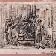San Ildefonso y Recesvinto en la tumba de Santa Leocadia / Dos figuras de santos en pie.