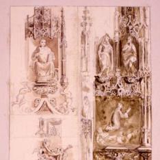 Detalles del retablo mayor de la catedral de Huesca
