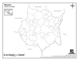 Mapa mudo de municipios de Morelos. INEGI de México