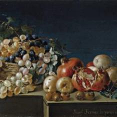 Bodegón de uvas y granadas