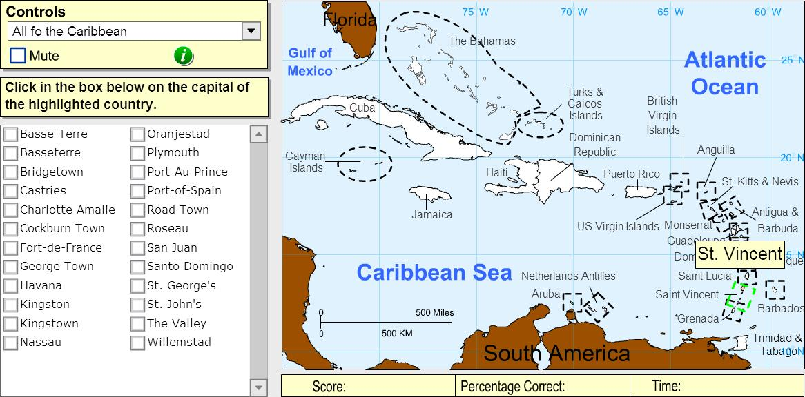 Capitals of the Caribbean. Expert. Sheppard Software