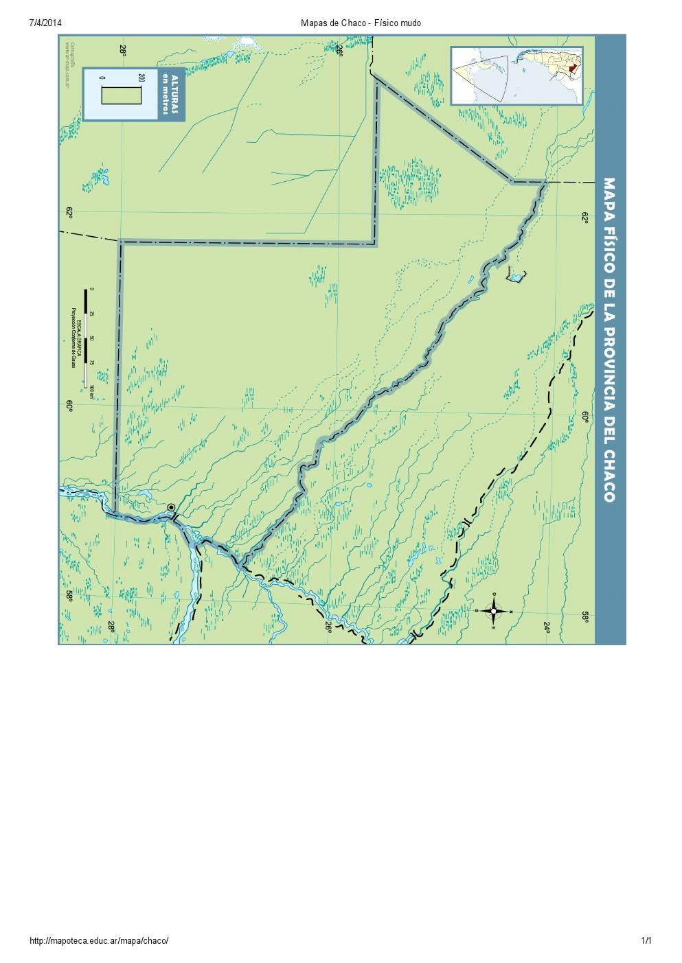 Mapa mudo de ríos del Chaco. Mapoteca de Educ.ar