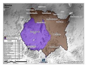 Mapa en color de montañas de Morelos. INEGI de México
