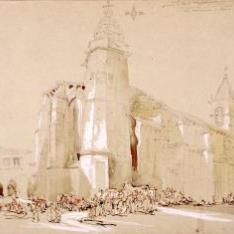 Iglesia de Santiago con la torre del reloj, Betanzos, la Coruña (España)