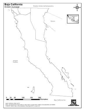 Mapa mudo de municipios de Baja California. INEGI de México