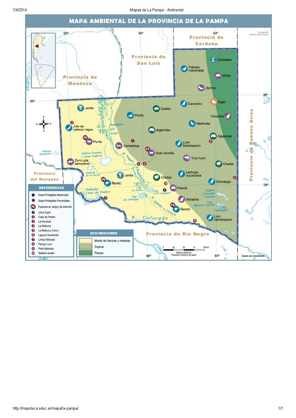 Mapa ambiental de La Pampa. Mapoteca de Educ.ar