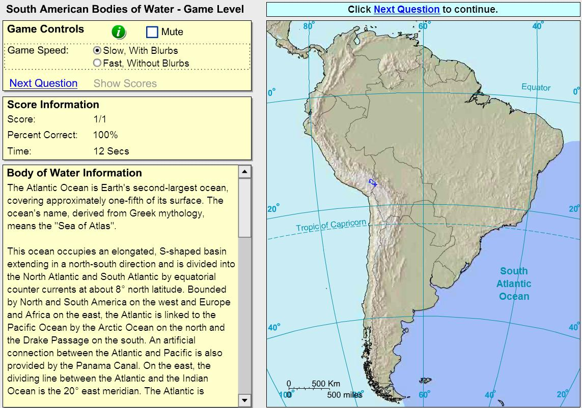 Oceans and lakes of South America. Game. Sheppard Software