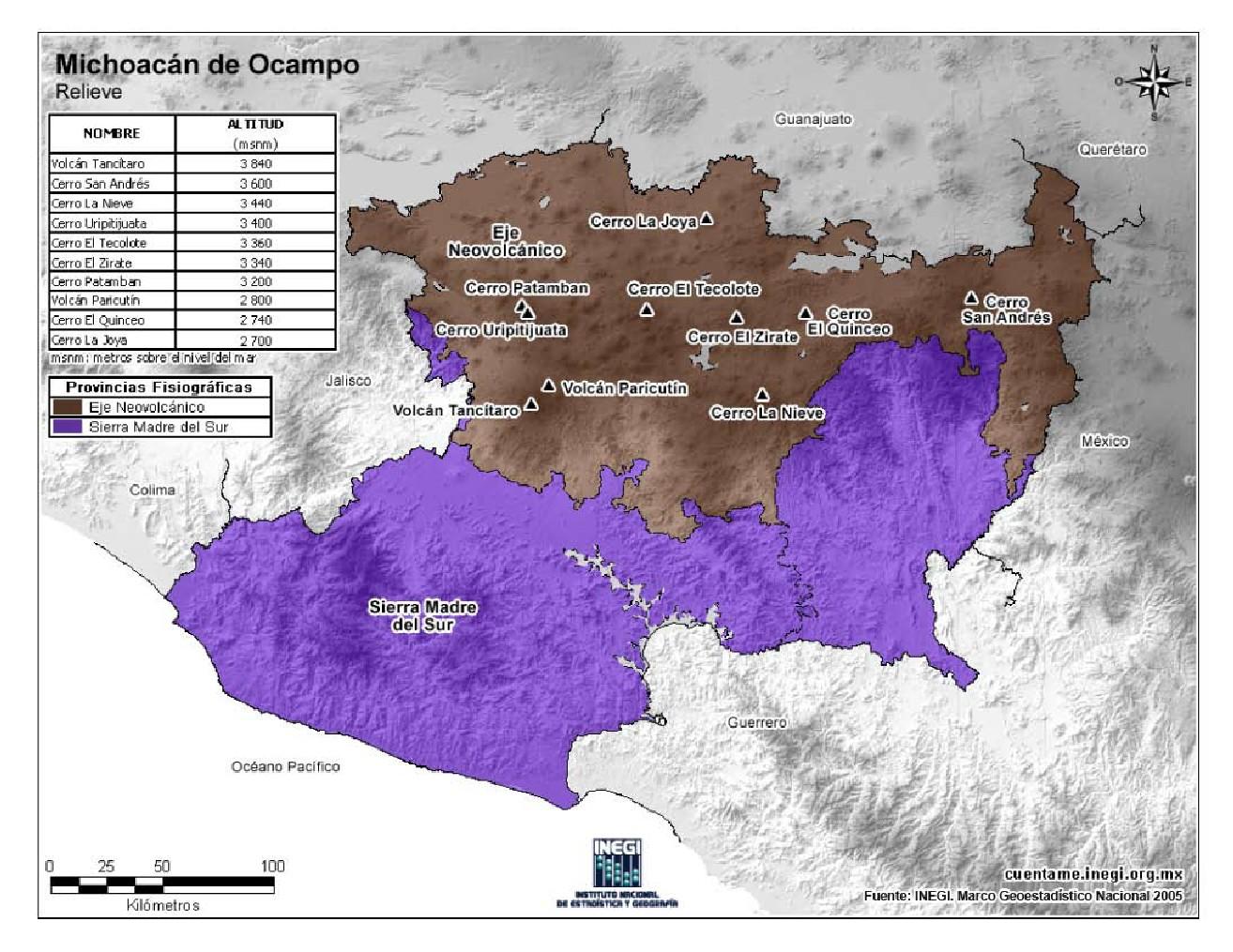 Mapa en color de montañas de Michoacán de Ocampo. INEGI de México