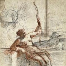 Diana sentada, con un arco y flechas
