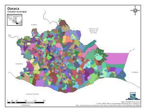 Mapa mudo de municipios de Oaxaca. INEGI de México