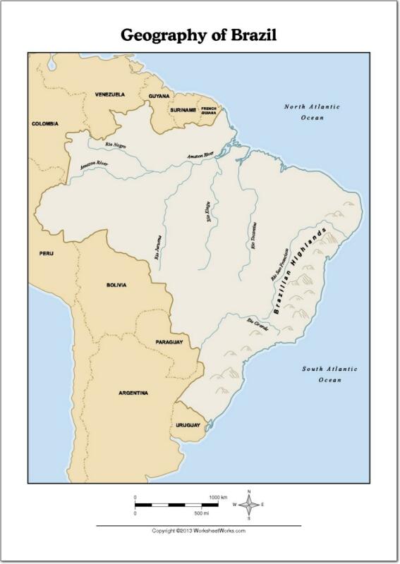 Mapa de ríos y montañas de Brasil. WorksheetWorks