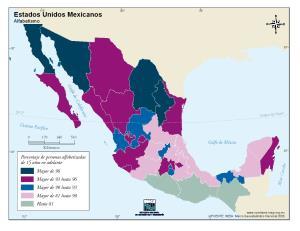 Mapa de alfabetismo en México. INEGI de México
