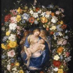 Guirnalda con la Virgen, el Niño y dos ángeles