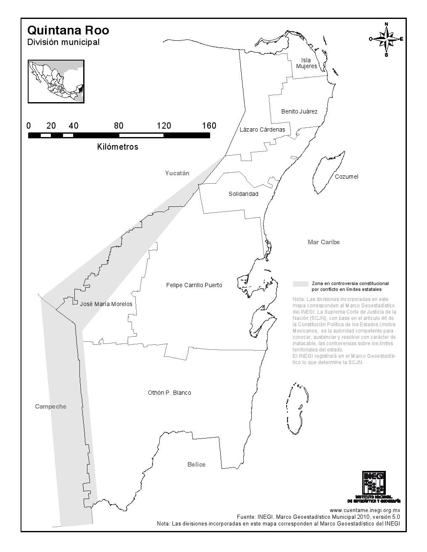Mapa de municipios de Quintana Roo. INEGI de México