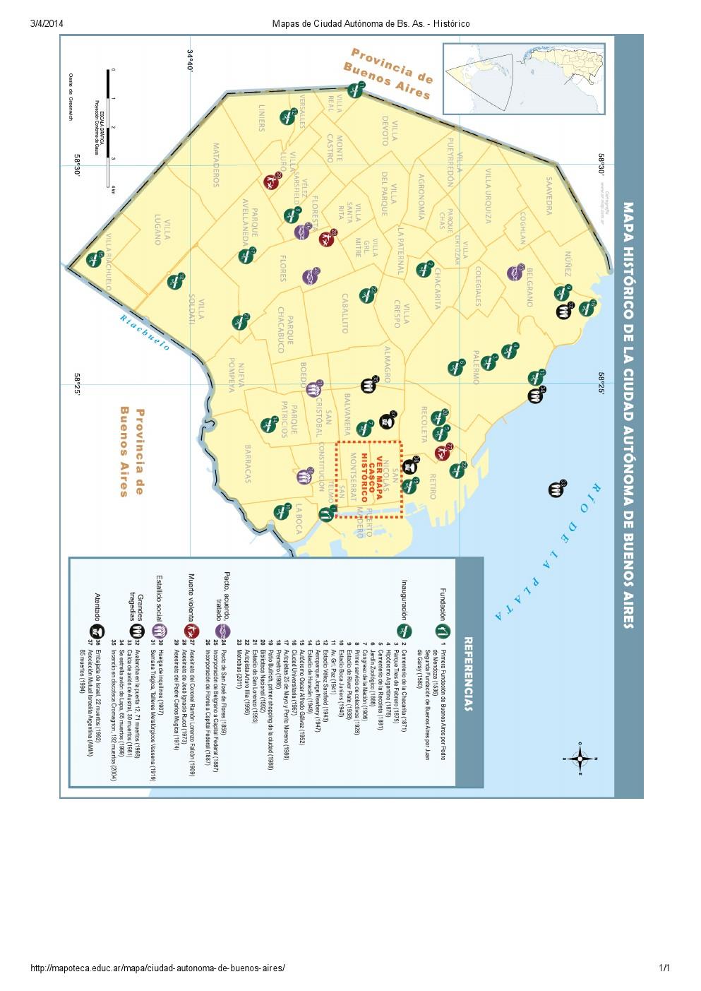 Mapa histórico de la ciudad de Buenos Aires. Mapoteca de Educ.ar