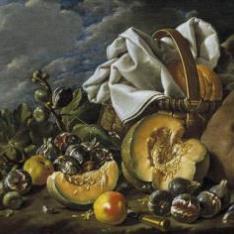 Bodegón: calabaza, higos, bota de vino y cesto