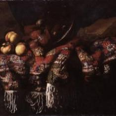 Bodegón con fruta, alfombra turca y libro