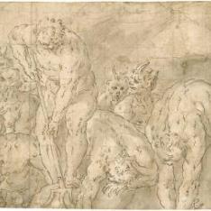 Escena del Infierno, con los demonios sometiendo a los condenados