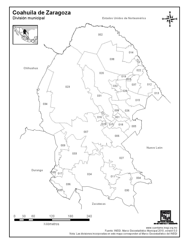 Mapa de municipios de Coahuila de Zaragoza. INEGI de México