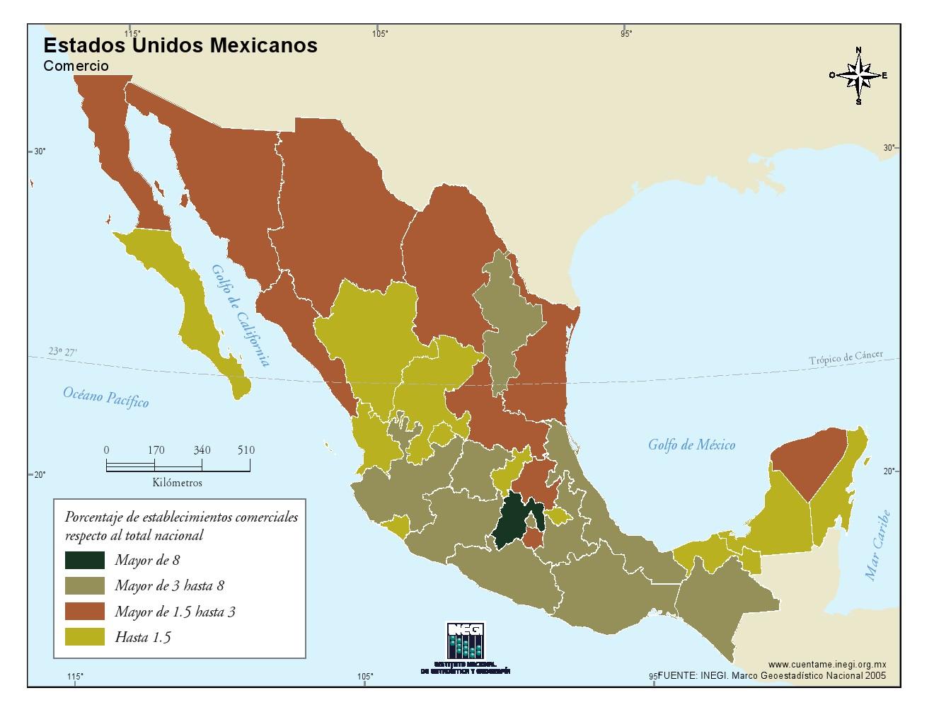 Mapa de comercio de México. INEGI de México