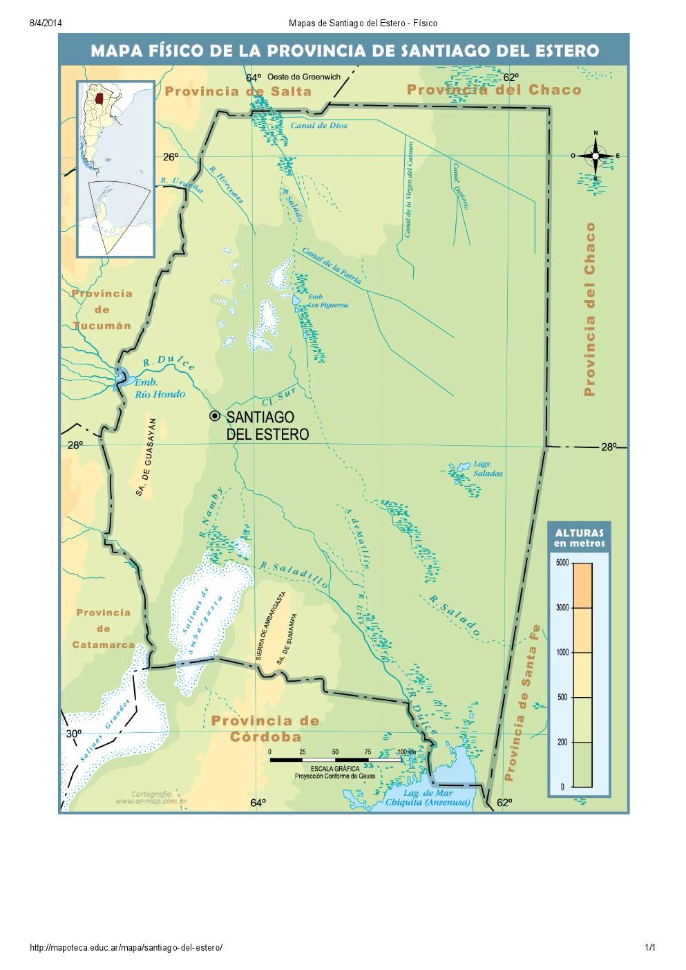 Mapa de ríos de Santiago del Estero. Mapoteca de Educ.ar