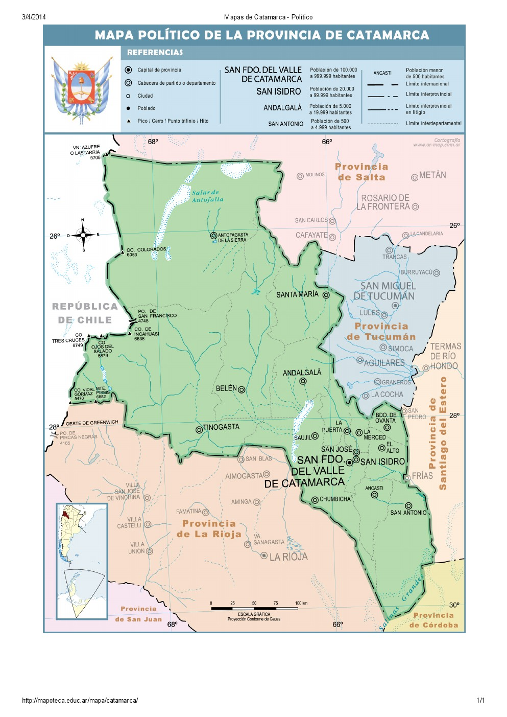 Mapa de capitales de Catamarca. Mapoteca de Educ.ar
