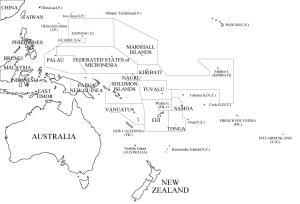 Mapa de países de Oceanía. Freemap