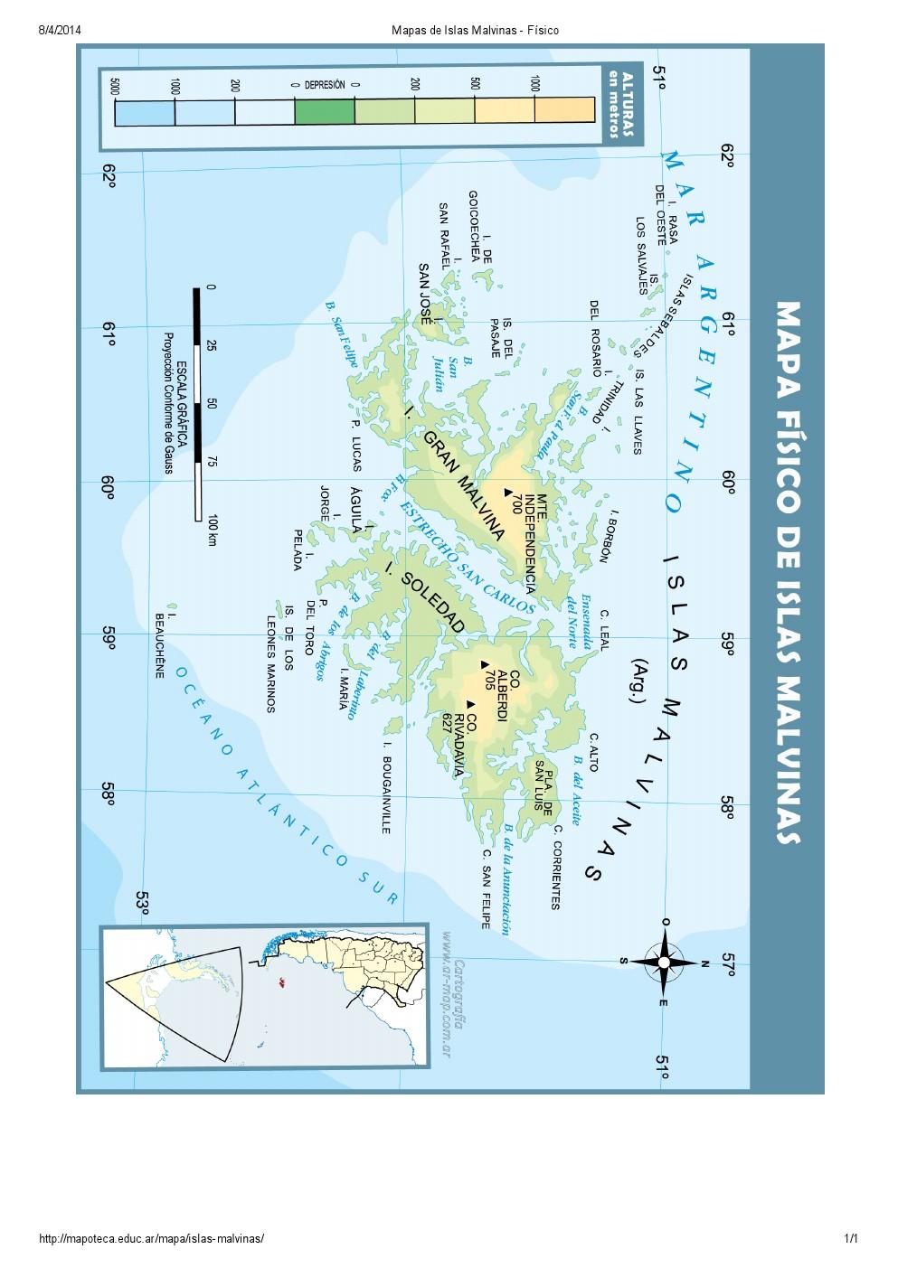 Mapa de relieve de las Islas Malvinas. Mapoteca de Educ.ar
