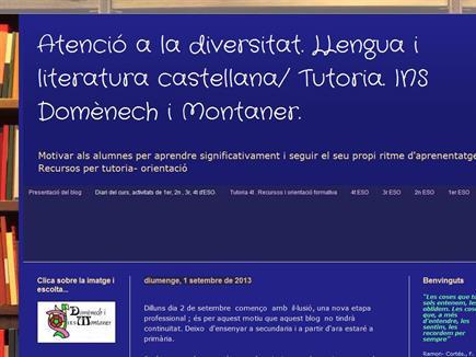 Atenció a la diversitat. LLengua i literatura castellana/ Tutoria. INS Domènech i Montaner.