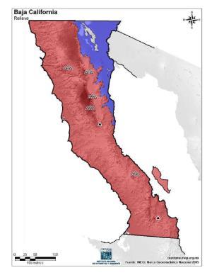 Mapa mudo de montañas de Baja California. INEGI de México