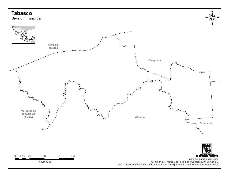 Mapa mudo de Tabasco. INEGI de México