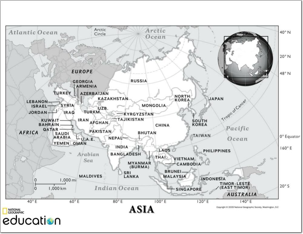 Mapa de países y ciudades de Asia. National Geographic