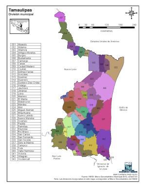 Mapa en color de los municipios de Tamaulipas. INEGI de México