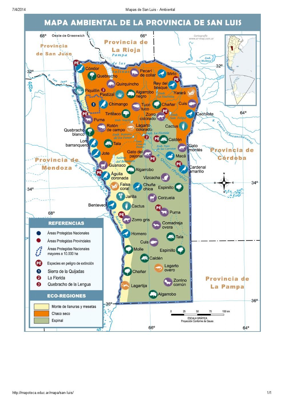 Mapa ambiental de San Luis. Mapoteca de Educ.ar