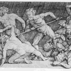 Batalla por la bandera de hombres desnudos