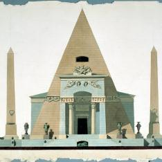 Alzado principal de pirámide para el concurso del monumento a las víctimas del Dos de Mayo