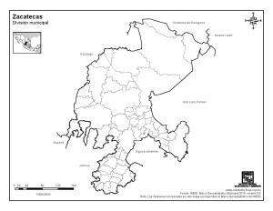Mapa mudo de municipios de Zacatecas. INEGI de México