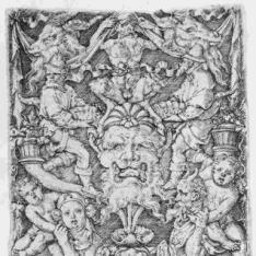 Ornamento con máscara y varias figuras