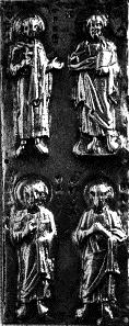 Placa con el Salvador y tres apóstoles