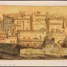 Vista de San Pietro in Vincoli y su entorno en el Esquilino, en Roma