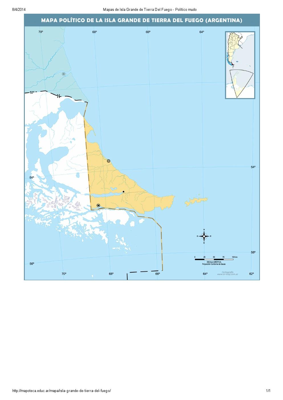 Mapa mudo de capitales de Isla Grande de Tierra del Fuego. Mapoteca de Educ.ar