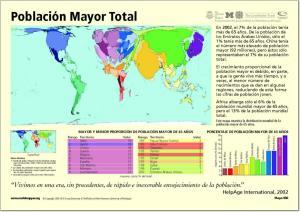 Mapa de países del Mundo. Población mayor de 65 años. Worldmapper