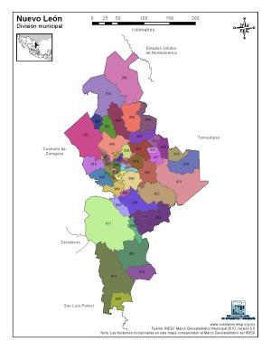 Mapa en color de los municipios de Nuevo León. INEGI de México