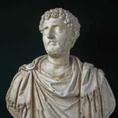Retrato de un romano sobre un busto antiguo con paludamento
