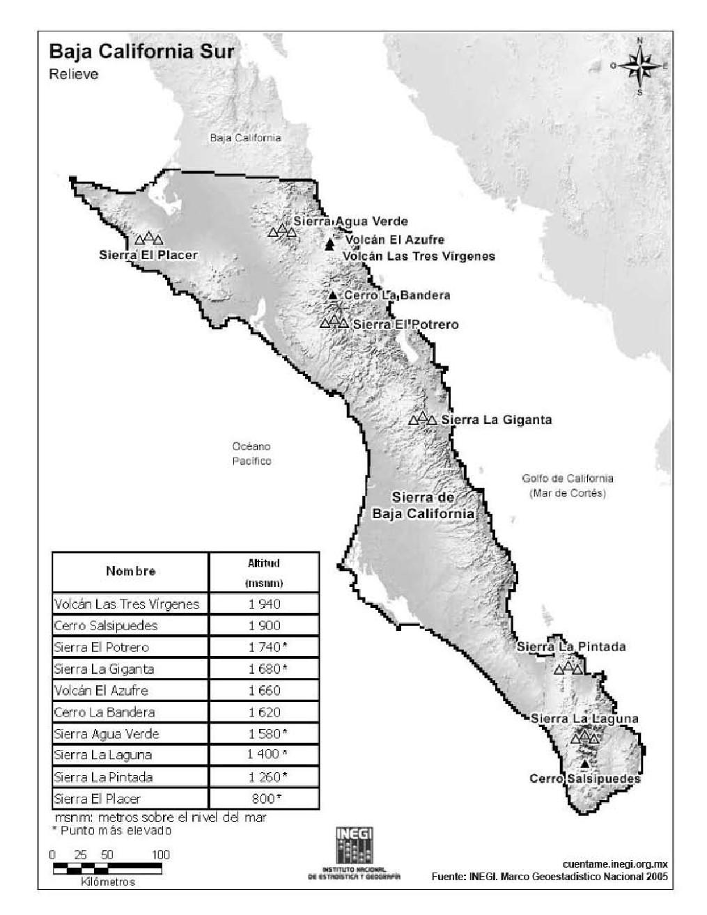Mapa de montañas de Baja California Sur. INEGI de México