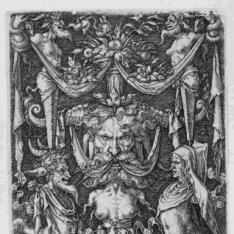Ornamento con máscara y figuras grotescas