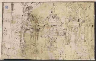 Estudios de fachadas, edículas y sagrario