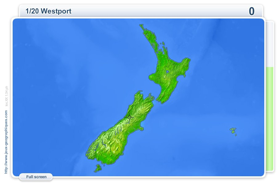 Cities of New Zealand . Geography map games
