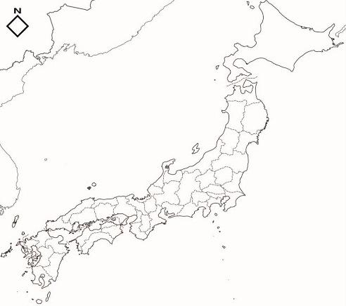 Mapa de prefecturas de Japón. Blographos