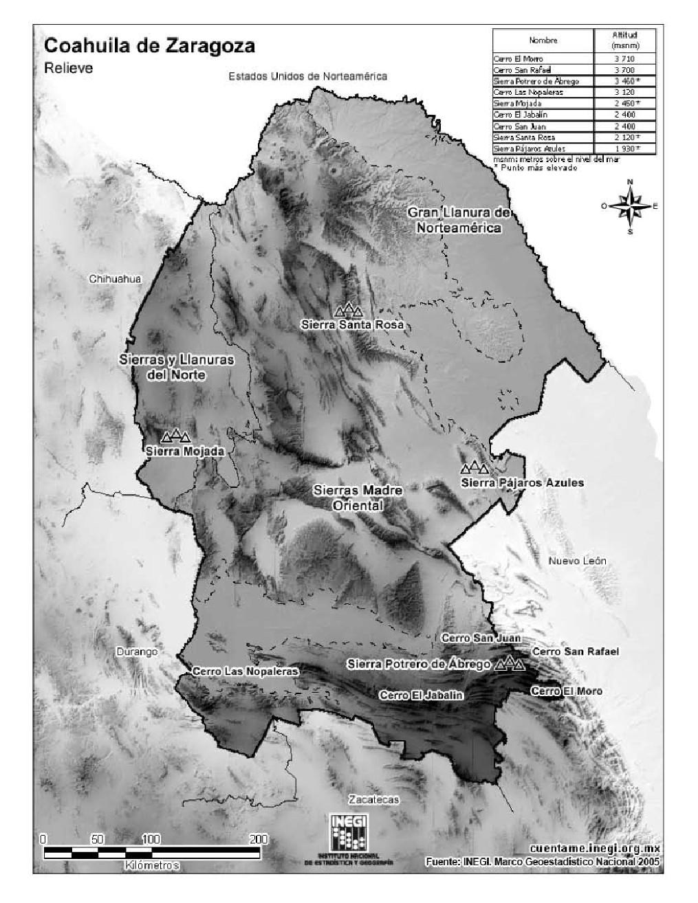 Mapa de montañas de Coahuila de Zaragoza. INEGI de México